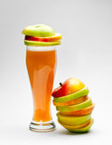Picture of chopped apples and apple juice Royalty Free Stock Image