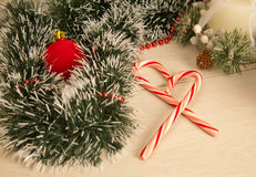 Picture of christmas candy cane, spangle, candle. Royalty Free Stock Photos
