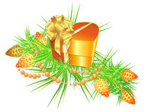 Picture of Christmas still life with a gift, a bra Royalty Free Stock Photography