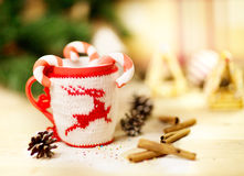 Picture of Christmastime gingerbread with cup of coffee Royalty Free Stock Images