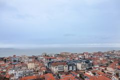 Aerial view of Arcachon, France, during a storm on a cloudy rainy day. Picture of the city of Arcachon, in France, taken from above during a cloudy afternoon Royalty Free Stock Photos