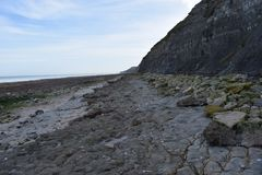 Cliff next to a British port of WWII in normandy. Picture of a cliff in normandy in the region where the allies invaded France Royalty Free Stock Photos