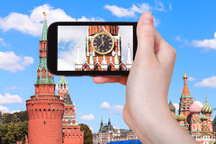 Picture of clock on Spasskaya tower in Moscow Royalty Free Stock Images
