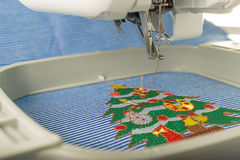 Picture Close up of embroidery machine Stock Image