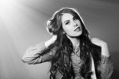 Picture closeup of beautiful brunette young woman royalty free stock images