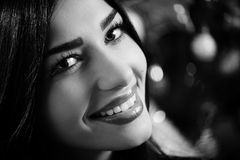 Picture closeup of young beautiful woman happy stock image