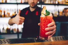A picture of cocktail that is pepared by barman. It has nice red color. Also there is some ice on the top of the. Cocktail and a piece of mint with the cocktail Royalty Free Stock Images
