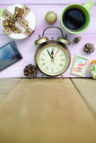 Picture of coffee cup, alarm clock and christmas Stock Photography
