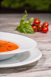 Picture of cold tasty tomato soup gazpacho with Stock Image