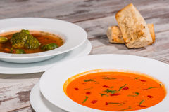 Picture of cold tasty tomato soup gazpacho with Royalty Free Stock Images