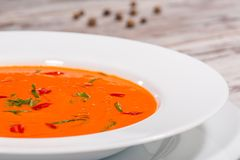 Picture of cold tasty tomato soup gazpacho with Stock Photos