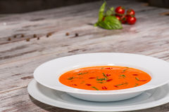 Picture of cold tasty tomato soup gazpacho with Royalty Free Stock Image