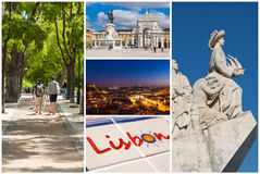 Picture collage of  Lisbon city  in Portugal Stock Photography