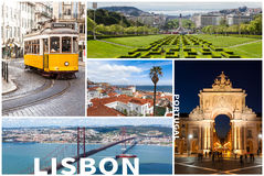 Picture collage of  Lisbon city  in Portugal Stock Image