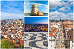Picture collage of  Lisbon city  in Portugal Stock Photos