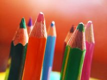 Picture of colored group of pencils stock photos