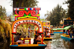 Picture of the colorful boats on ancient Aztec canals at Xochimi Stock Photos