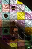 Colorful glass panels on the Strong museum in Rochester New York stock photo