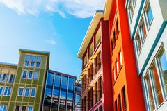 Colorful house facades along a square in the city of Stuttgart, Germany. Picture of colorful house facades along a square in the city of Stuttgart, Germany royalty free stock images