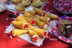 Outdoor Party Cream Caramel Cones Stock Images