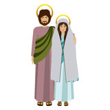 Picture colorful virgin mary and saint joseph embraced Stock Image