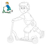 Picture for coloring - boy on the scooter. Stock Photo