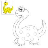 Picture for coloring a dinosaur. Vector illustration. The image of a cute little dinosaur. Picture for coloring with a color sample Royalty Free Stock Images