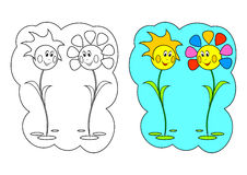 The picture for coloring. Flowers. Stock Photo