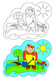 The picture for coloring. Gardener. Royalty Free Stock Photos