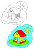The picture for coloring. Home. Royalty Free Stock Images