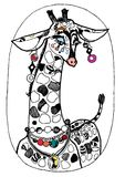 Beauty giraffe, colouring book. Picture colouring pages, artistic design, illustrations. Kids   painted, draving paint,sketch Royalty Free Stock Image