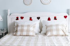 Picture of comfortable double bed in bedroom Royalty Free Stock Photos