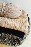 Picture of cozy knitted woolen sweaters Stock Photography