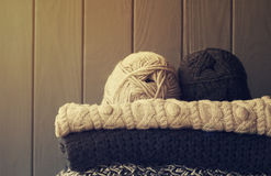 Picture of cozy knitted woolen sweaters Royalty Free Stock Photography