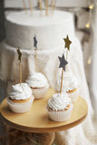 Picture of creamy cakes with decor of star Royalty Free Stock Image