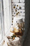Picture of creamy cakes with decor of star Royalty Free Stock Photography