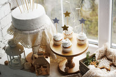 Picture of creamy cakes with decor of stars Royalty Free Stock Image