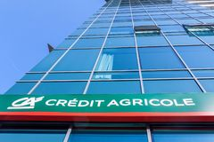 Logo of Credit Agricole on their local headquarters for Serbia. Credit Agricole Srbija is one of the French leading retail banks. Picture of the Credit Agricole royalty free stock image