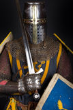 Picture of crusader. Noble crusader is holding a sword Stock Photo