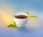 Picture a cup of coffee. With decorative elements Royalty Free Stock Photos