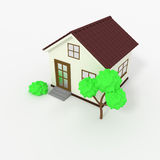 Picture of 3d house icon with tree Royalty Free Stock Photo