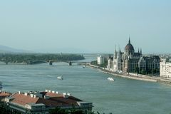Panorama of Budapest with the Hungarian Parliament seen from the Budapest castle, the Danube river being in front royalty free stock photography