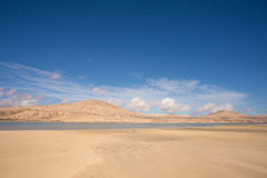 Picture of desert with water basin Stock Photo