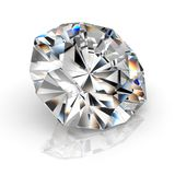 Picture diamond jewel on white background. Beautiful sparkling shining round shape emerald image. 3D render brilliant stock illustration
