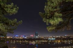 Skyline of New Belgrade Novi Beograd seen by night from the Kalemegdan fortress. Picture of the district of Novi Beograd New Belgrade in the capital city of royalty free stock photo