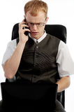 Picture of disturbed man calling by phone Royalty Free Stock Image