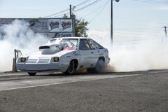 Drag car smoke show Stock Photography