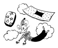 Picture drawing of a little mouse flying in a dream and falling from the bed, waking up,  vector illustration. Picture drawing of a little mouse flying in a Royalty Free Stock Image