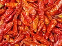 The picture is Dry pepper in the supermarket.It is made in China.Dry pepper red pepper is made through dry chili products. It is c. Haracterized by low water Royalty Free Stock Images