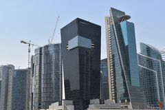 Picture of Dubai Business Bay skyline with a beautiful black building from Omniyat royalty free stock photo